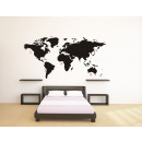 wholesale Decoration: World Map Wall Decal - Black