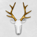 Walplus Deer Head, Wall Decoration, White / Gold
