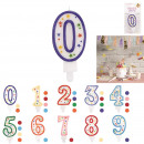Birthday candle, 10-fold assorted
