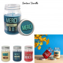 grossiste Maison et habitat: bougie parfumee vanille bocal merci h13cm, 3-fois