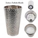 kaarsenvaas keramiek martele zilver 24x15cm