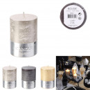 glitter cylinder candle 8x6cm, 3- times assorted