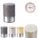 glitter cylinder candle 10x7cm, 3- times assorted