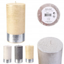 glitter cylinder candle 14x7cm, 3- times assorted
