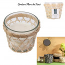 glass candle and wooden basket 11cm