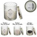 bougie parfumee verre motif top metal h10.2, 3-foi