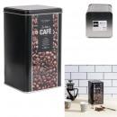 tłoczone metalowe pudełko na kawę