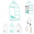 Cage bird jewelry holder, 3-fold assorted