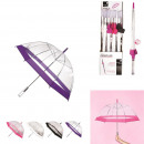 parapluie long dome transparent 80cm, 4-fois assor