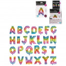foil balloon letter 35cm rainbow, 26-fold
