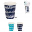 disposable cup x6 8.6cm blue lagoon, 2-fold assor