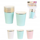 disposable cup x6 230ml party time, 3-fold assorte