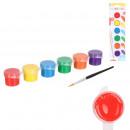 pots de peinture 6 couleurs 1 pinceau