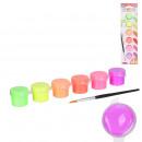 fluorescent paint pots 6 colors 1 brush