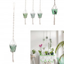 hanging pot in glass and macrame, 3- times assorte