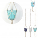 hanging glass and macrame lagoon jar, 3-fold as