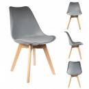 Scandinavian chair with shell pp Pillow gray, 1-fo