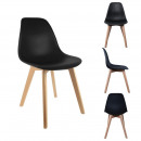 Scandinavian chair shell black PP, 1-times assorte
