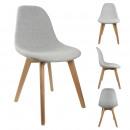 chaise scandinave en tissu grise