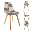 Scandinavian patchwork chair black white, 1-time a