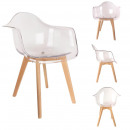 Transparent scandinavian armchair, 1-fold assorted