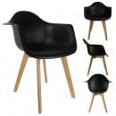Black scandinavian armchair, 1-fold assorted