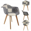 Black patchwork scandinavian armchair, 1-time a