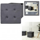 Foldable pouffe pouffe gray dark, 1-fold assorted