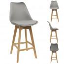 chaise de bar pp grise pieds bois