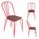 red chair in metal and wood, 1- times assorted