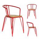 fauteuil rouge en metal et bois