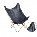 butterfly chair suedine blue gold, 1-time assort