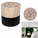 two-tone stool round wood raw and black, 1-time a