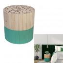 tabouret bicolore rond bois brut et vert