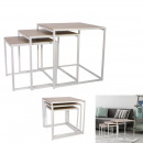 white nesting square tables x3, 1-time assort