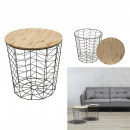 table wired wood and metal black pattern chevron,