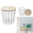 table filaire bois et metal gris motif chevron