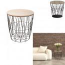 table filaire plateau bois motif zigzag