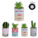 wholesale Garden & DIY store: artificial plant cactus pot metal, 4-time assor