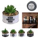 artificial plant metal pot happy working, 4-faith