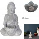 Großhandel Figuren & Skulpturen: Kerzenhalter sitzender Zement 20,5cm