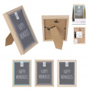 colored wood picture frame 10x15cm, 3-fold ass