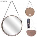 miroir rond avec anse pu bois 40cm