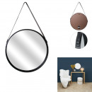 round mirror with handle pu black 50cm, 1- times a