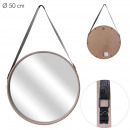 round mirror with handle pu wood 50cm, 1- times as