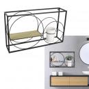 rectangle shelf has 2 metal wood circles, 1-fold