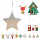 ornament fir glitter sledge 11cm, 12-time assor