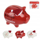 piggy bank ceramic pig christmas 11x9x7cm, 3-fold