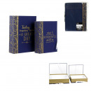wholesale Figures & Sculptures: box pull out book blue deco x2 20x27x7cm, 1-time