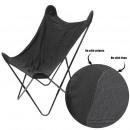 reverzibilis bársony pillangó szék fekete, 1 alkal